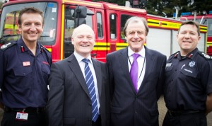(L to R) Hampshire Chief Officer Dave Curry, Cllr Royston Smith, Chairman of the Hampshire Fire and Rescue Authority, Cllr Phil Jordan, executive member for public protection and PFI for Isle of Wight Council, Steve Apter, current Chief Officer of the Isle of Wight.