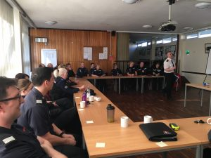 Firefighters and Police Community Support Officers in West Oxfordshire at a recent joint training exercise at Witney Fire Station.